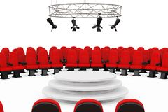 Κόκκινες άνετες έδρες κινηματογραφικών αιθουσών κινηματογράφων γύρω από το μέταλλο σύγχρονο ελεύθερη απεικόνιση δικαιώματος