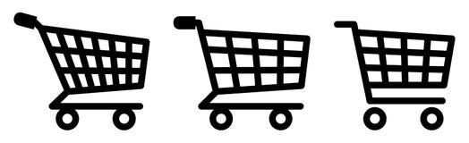 κόκκινες αγορές σειράς εικονιδίων κάρρων Σύμβολο που χρησιμοποιείται για να προσθέσει τα στοιχεία στο καλάθι στο eshop διανυσματική απεικόνιση