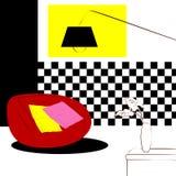 Κόκκινες αυξομειούμενες καρέκλες και ελεγμένο εσωτερικό τοίχων Στοκ φωτογραφία με δικαίωμα ελεύθερης χρήσης