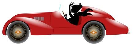 Κόκκινες αυτοκίνητο και αθλήτρια στη σκιαγραφία Στοκ φωτογραφία με δικαίωμα ελεύθερης χρήσης