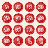 Κόκκινες αυτοκόλλητες ετικέττες έκπτωσης Στοκ εικόνα με δικαίωμα ελεύθερης χρήσης
