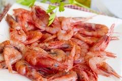 Κόκκινες γαρίδες με το μαϊντανό Στοκ Φωτογραφία