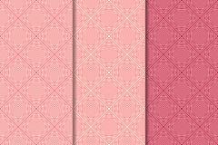 Κόκκινες γεωμετρικές τυπωμένες ύλες κερασιών άνευ ραφής σύνολο προτύπων Στοκ Φωτογραφίες
