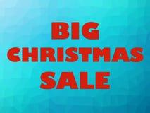 Κόκκινες επιστολές εμβλημάτων πώλησης Χριστουγέννων στο μπλε υπόβαθρο Στοκ Εικόνα