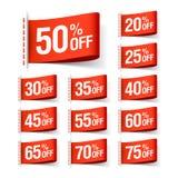 Κόκκινες ετικέτες πώλησης έκπτωσης Στοκ φωτογραφία με δικαίωμα ελεύθερης χρήσης