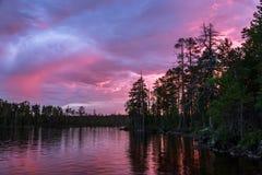 Κόκκινες ηλιοβασίλεμα και ανατολή πέρα από το δάσος και τη λίμνη κατά τη διάρκεια του μορίου Στοκ Εικόνες