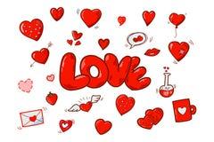 Κόκκινες διανυσματικές καρδιές κινούμενων σχεδίων Στοκ Εικόνες