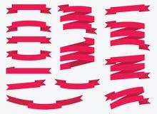 Κόκκινες διανυσματικές κορδέλλες καθορισμένες - απεικόνιση Στοκ Εικόνες