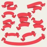 Κόκκινες διανυσματικές κορδέλλες καθορισμένες - διανυσματική απεικόνιση Στοκ εικόνα με δικαίωμα ελεύθερης χρήσης