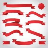 Κόκκινες διανυσματικές κορδέλλες καθορισμένες Στοκ φωτογραφία με δικαίωμα ελεύθερης χρήσης