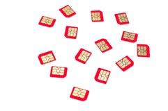 Κόκκινες κάρτες SIM Στοκ εικόνα με δικαίωμα ελεύθερης χρήσης