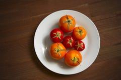 Κόκκινες κίτρινες ντομάτες στο άσπρο πιάτο Στοκ Εικόνες