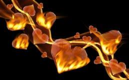 Κόκκινες καίγοντας καρδιές πολύτιμων λίθων που οδηγούν το κύμα καπνού πυρκαγιάς που απομονώνεται στο σκοτεινό υπόβαθρο Γεωμετρικό Στοκ Φωτογραφίες