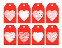 Κόκκινες και άσπρες διανυσματικές ετικέττες δώρων με τις καρδιές Στοκ Φωτογραφίες