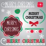 Κόκκινες και άσπρες ετικέτες Χαρούμενα Χριστούγεννας Gree Στοκ εικόνες με δικαίωμα ελεύθερης χρήσης