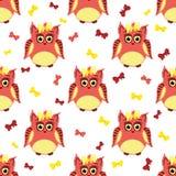 Κόκκινες και κίτρινες κουκουβάγιες με τα τόξα Στοκ εικόνες με δικαίωμα ελεύθερης χρήσης