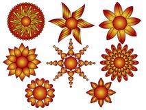 Κόκκινες και πορτοκαλιές διακοσμήσεις λουλουδιών και καρδιών Στοκ φωτογραφία με δικαίωμα ελεύθερης χρήσης