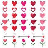 Κόκκινες και ρόδινες καρδιές που τίθενται για την ημέρα βαλεντίνων ` s Στοκ Εικόνα