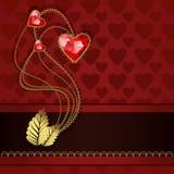 Κόκκινες καρδιές διαμαντιών και χρυσές διακοσμήσεις Στοκ Εικόνες