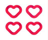 Κόκκινες καρδιές, διανυσματικά εικονίδια αγάπης καθορισμένα Πρότυπο γαμήλιων λογότυπων, στοιχείο σχεδίου καρδιών Σύμβολο ημέρας β Στοκ Εικόνες
