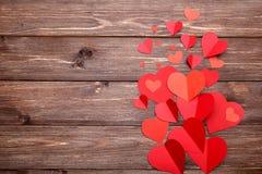 Κόκκινες καρδιές εγγράφου στοκ εικόνα