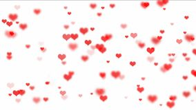 Κόκκινες καρδιές που πετούν στο άσπρο υπόβαθρο διανυσματική απεικόνιση