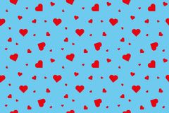 Κόκκινες καρδιές στο μπλε υπόβαθρο Στοκ εικόνες με δικαίωμα ελεύθερης χρήσης