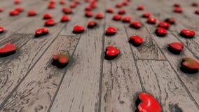 Κόκκινες καρδιές στο πάτωμα bokeh απόθεμα βίντεο