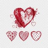 Κόκκινες καρδιές doodle στο διαφανές υπόβαθρο Στοκ εικόνα με δικαίωμα ελεύθερης χρήσης