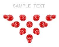 Κόκκινες καρφίτσες μπόουλινγκ με τα άσπρα λωρίδες Στοκ Φωτογραφίες