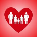 Κόκκινες καρδιά και οικογένεια Στοκ Εικόνα