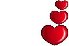 Κόκκινες καρδιές βαλεντίνων Στοκ Φωτογραφία