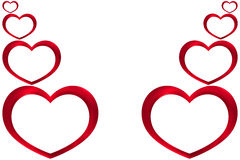 Κόκκινες καρδιές βαλεντίνων Στοκ Εικόνα