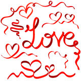 Κόκκινες καρδιές κορδελλών καθορισμένες Στοκ φωτογραφία με δικαίωμα ελεύθερης χρήσης