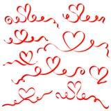 Κόκκινες καρδιές κορδελλών καθορισμένες Στοκ εικόνες με δικαίωμα ελεύθερης χρήσης