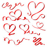 Κόκκινες καρδιές κορδελλών Στοκ Εικόνες