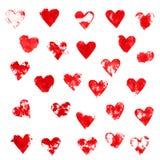Κόκκινες καρδιές μελανιού Στοκ Εικόνες