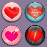 Κόκκινες καρδιές με τη θέση για τις εικόνες ή το κείμενο τρισδιάστατα κουμπιά διάνυσμα Στοκ φωτογραφίες με δικαίωμα ελεύθερης χρήσης