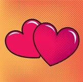 Κόκκινες καρδιές πέρα από το ημίτονο υπόβαθρο Στοκ φωτογραφία με δικαίωμα ελεύθερης χρήσης