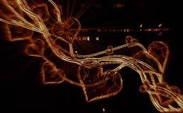 Κόκκινες καρδιές πολύτιμων λίθων που οδηγούν το κύμα καπνού πυρκαγιάς που απομονώνεται στο σκοτεινό υπόβαθρο Γεωμετρικός το τριγω Στοκ εικόνα με δικαίωμα ελεύθερης χρήσης