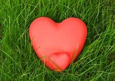 Κόκκινες καρδιές στη χλόη Στοκ Εικόνες