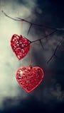Κόκκινες καρδιές στους τραχιούς κλάδους στοκ εικόνα