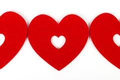 Κόκκινες καρδιές στο άσπρο backgrond Στοκ Εικόνες