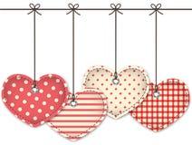Κόκκινες κατασκευασμένες καρδιές Στοκ Εικόνα
