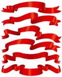 κόκκινες κορδέλλες συ& διανυσματική απεικόνιση