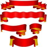 Κόκκινες κορδέλλες καθορισμένες Στοκ εικόνα με δικαίωμα ελεύθερης χρήσης