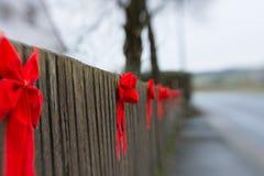 κόκκινες κορδέλλες Στοκ Εικόνες