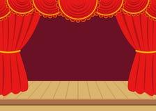 Κόκκινες κουρτίνες και ξύλινο σκηνικό υπόβαθρο Στοκ Φωτογραφίες
