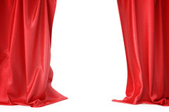 Κόκκινες κουρτίνες μεταξιού για το φως θεάτρων και κινηματογράφων spotlit στο κέντρο τρισδιάστατη απόδοση απεικόνιση αποθεμάτων