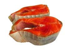 Κόκκινες μπριζόλες ψαριών σολομών Στοκ Φωτογραφία